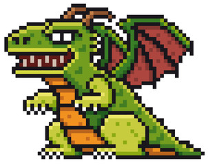 Vector illustration of Cartoon Dragon - Pixel design