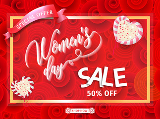 Womens day sale 50% Off banner template for social media advertising, invitation or poster design. Vector illustration. Special offer Background for women's day celebration.