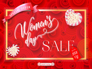 Womens day sale 25% Off banner template for social media advertising, invitation or poster design. Vector illustration. Special offer Background for women's day celebration.