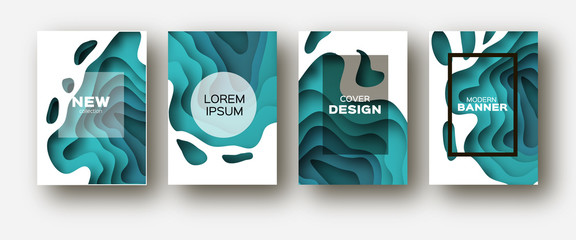 Blue Paper Cut Wave Shapes. Layered curve Origami design for business presentations, flyers, posters. Set of 4 vertical banners. 3D abstract map carving. Text. Frame.