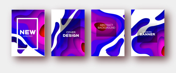 Blue Violet Paper Cut Wave Shapes. Layered curve Origami design for business presentations, flyers, posters. Set of 4 vertical banners. 3D abstract map carving. Text. Frame.