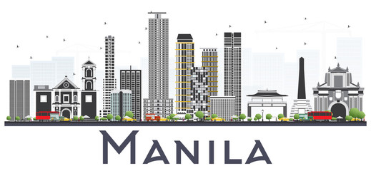Manila Philippines City Skyline with Gray Buildings Isolated on White Background.
