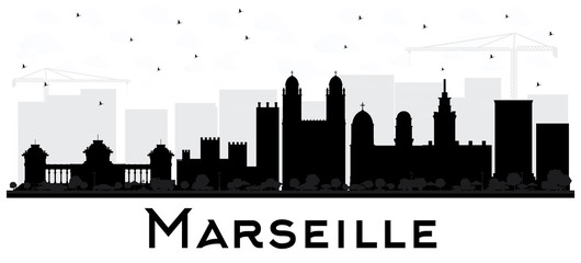 Marseille France City Skyline Black and White Silhouette.