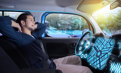 relaxed man in autonomous car. self driving vehicle. autopilot. automotive technology.