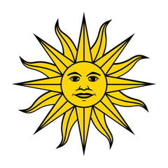 The Inca sun God. Inti sun of may. Uruguayan flag. Isolated on white background. Abstract vector illustration