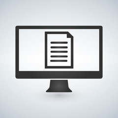 Online electronic document on computer display vector illustration.