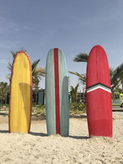 Colorful surfboards stand on the beach.