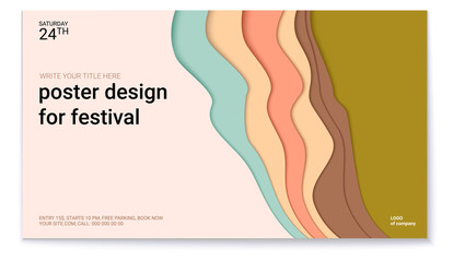 Poster design for festival with abstract pattern of cut paper. The symbol of the surf, wind or smoke. Horizontal vector template of poster, design layout for brochure, banner, flyer.
