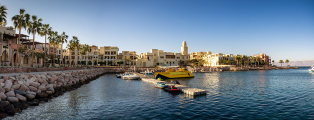 Foto op Plexiglas Poort Tourist resort in Aqaba Jordan where the ferries from Egypt land