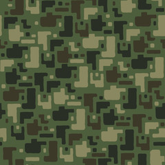 Camouflage pattern background seamless vector illustration. Classic clothing style masking camo repeat print. Green brown black olive colors forest texture.