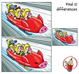Three piglets at the bobsled competition. Find 10 differences. Educational game for children. Cartoon vector illustration