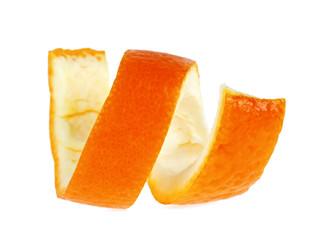 Single orange peel on a white background