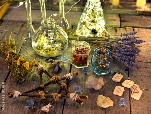 Wicca Christmas.Magic Ritual Objects Collection With Pentagram Runes