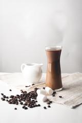 Hot coffee in glass and milk, Arabica coffee