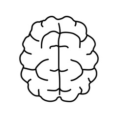 Brain icon. Outline brain black and white icon.