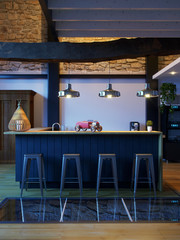 3D Rendering empty bar interior, no people evening front view