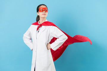 young female cancer doctor with superhero clothing