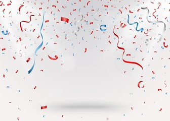 Celebration background with red confetti and blue ribbon
