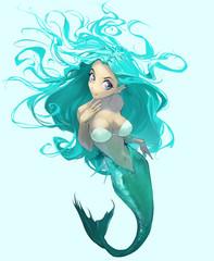 anime cartoon Illusttration of a beautiful elegant mermaid with long blue hair
