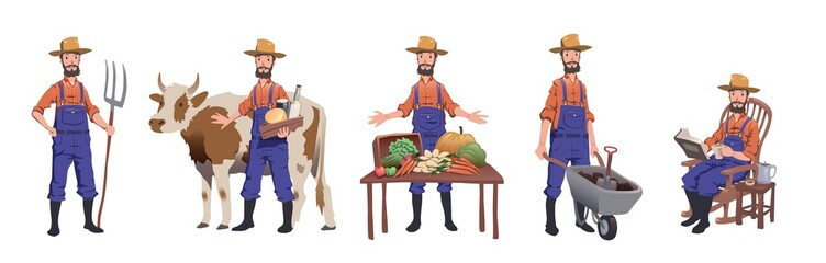 Farmer working at farm, caring for the cow, selling farm products and resting. Man character set, vector illustration, isolated on white background.