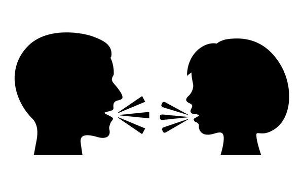 Man and woman conversation