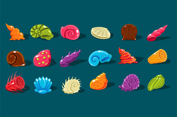 Cartoon set with shiny sea shells of different shapes and kinds. Colorful aquarium decor objects. Flat vector design elements for computer or mobile game interface