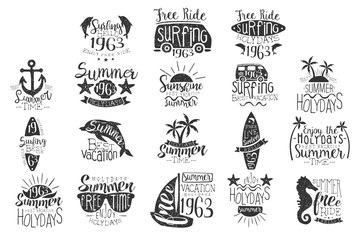 Vector set with hand drawn emblems for summer vacation. Monochrome dolphins, sunglasses, surfboard, van, anchor, sun, palms, seahorse, boat and sea stars with lettering