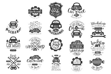 Vector set of vintage car emblems with hand lettering. Stylish monochrome labels. Typographic design for auto repair service or car wash. Textured grunge logo