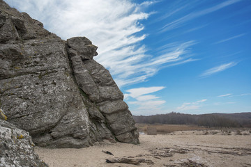The Sphinx in Bulgaria - a rock face formation on the beach of Sinemorets