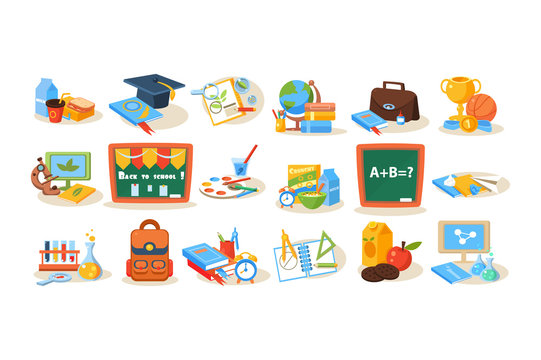 Colorful school objects for education concept. Chalkboard, lunch, books, pens, paints, microscope, globe, trophy, backpack, computers, flasks, magnifying glass. Flat vector