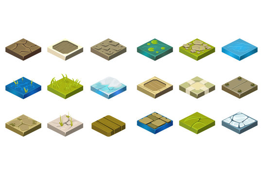 Cartoon set of isometric landscape tiles with different surfaces. Grass, ground, water, bog, stone, ice, dirt, wood. Elements for creating path. Flat vector for mobile game