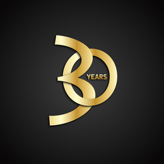 30 YEAR ANNIVERSARY Vector Icon