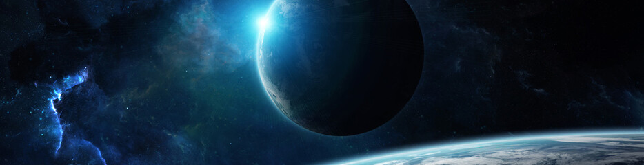 Panorama of distant planet system in space 3D rendering elements of this image furnished by NASA Fotomurales