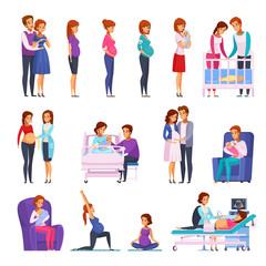 Pregnancy Newborn Cartoon Icons Set