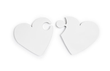Two hearts puzzle on isolated clipping mask on white background, top view illustration for valentine's day or wedding