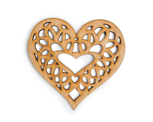 wooden heart isolated on isolated clipping mask on white background, top view illustration for valentine's day or wedding