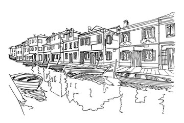 Vector sketch of scene in Venice with channel