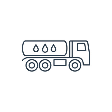 Linear car icon with tank