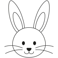 Line art black and white rabbit bunny face icon poster.