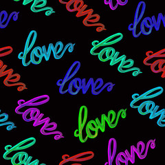 Love colorful  neon typography seamless pattern,  hand painted watercolor illustration on black background