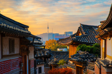 Ancient Korean town in Autumn and morning sunrise, Travel place in Seoul city, Seoul, South Korea