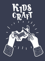 Scissor in kids hands. Modern graphic concept.