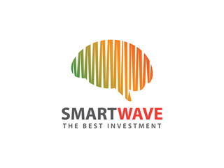 smart brain wave vector logo design