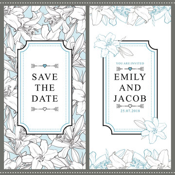 Set of two vertical wedding invitation designs with beautiful hand-drawn white lily flowers, vector illustration. Save the date, wedding invitation templates with white lily flowers and place for text