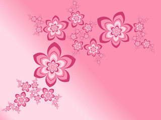 Garland of abstract fractal flowers on a gradient pink background
