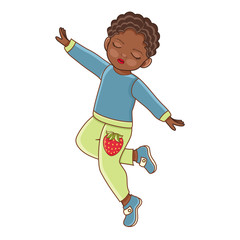Vector flat african american black boy in casual clothing, denim jeans dancing with eyes closed. Isolated illustration, male child, kid character, white background