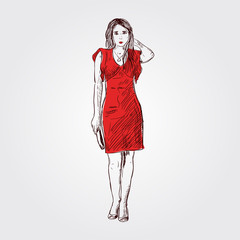 Fashion woman, sketch illustration