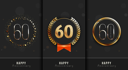 Sixty years anniversary invitation / greeting cards template. Vector illustration with black and gold elements.