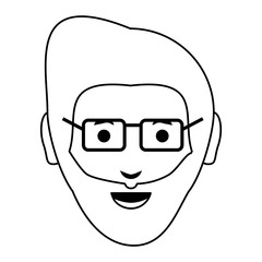 cartoon man face icon
