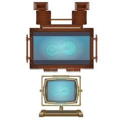 Computer and wall monitor in vintage style. Technology and projection equipment. Image drawn in cartoon style. Vector illustration isolated on white background